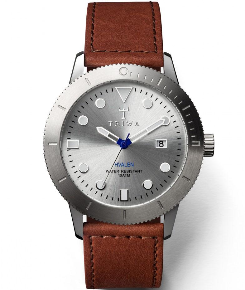 Triwa ur med stål urkasse og brun læderrem - Triwa Stirling Hvalen Brown Sewn Classic HVST102.SC010212