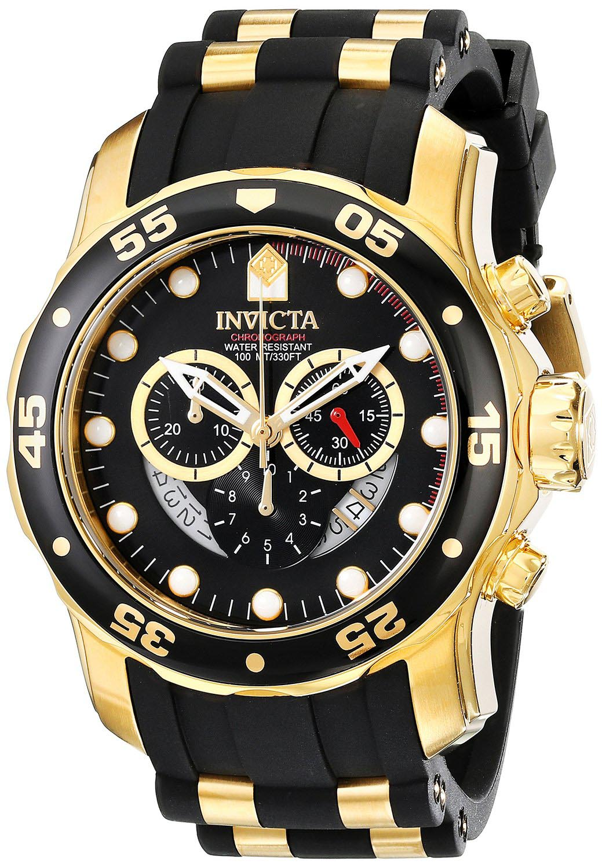 Stort Invicta herreur i sort og guld - Invicta Pro Diver Chronograph 6981