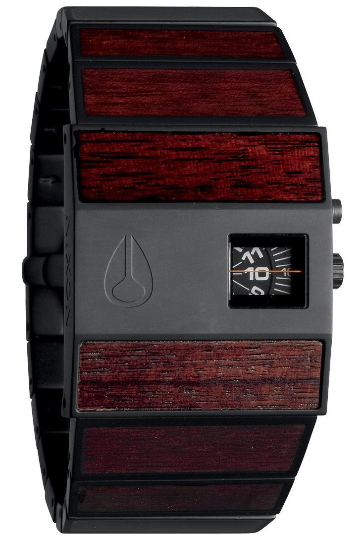 Unikt armbåndsur med træ features fra Nixon - Nixon Rotolog Dark Wood/Black A028-1107