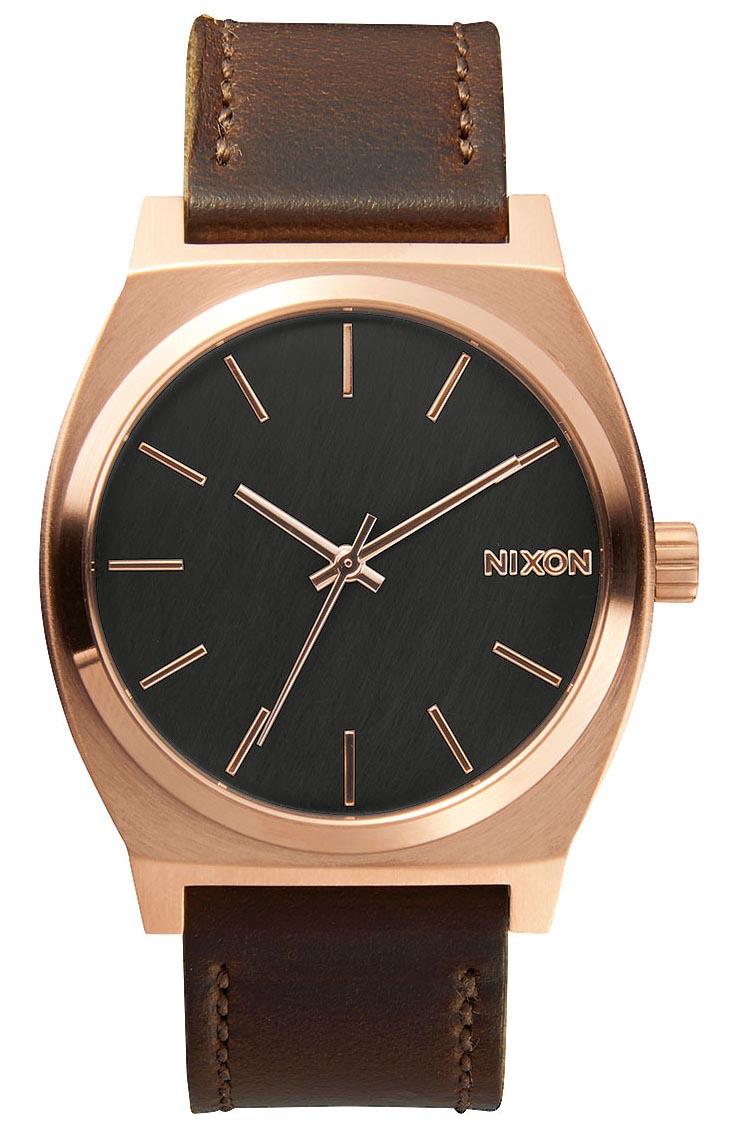 Rødguld armbåndsur med flot brun kvalitetslæderrem - Nixon Time Teller Rose Gold / Gunmetal / Brown A045-2001