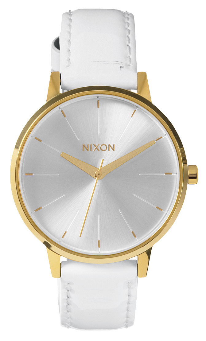 Lækkert Nixon dameur med guld kasse og flot hvid lakeret læderrem - Nixon Kensington Leather All White/Gold Patent A108-1393