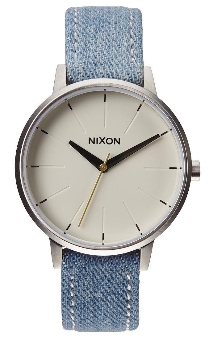 Smart dameur med lyseblå denim rem på læder - Nixon Kensington Leather Washed Denim/Cream A108-1601