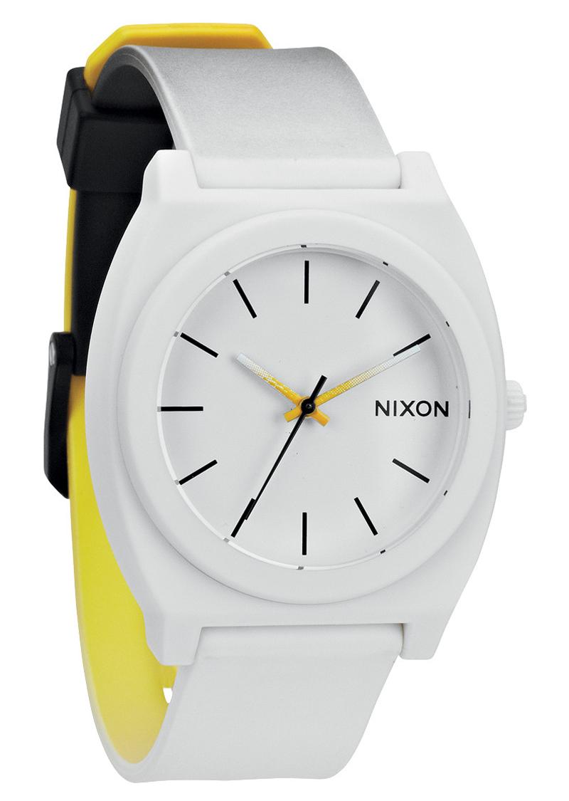 Hvidt ur med multifarvet rem - Nixon Time Teller P Black/White/Yellow Fade A119-1327