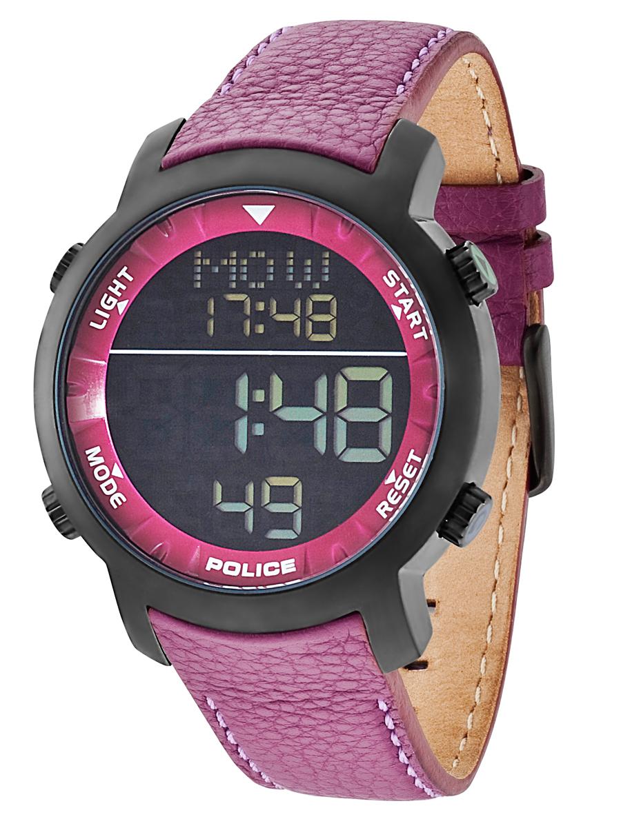 Sort Police digital ur med lilla læderrem - Police Cyber PL12898JSB/02C