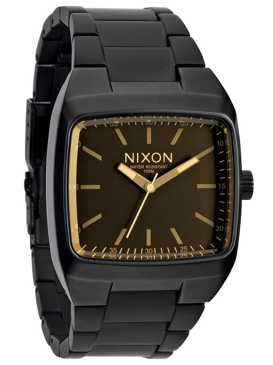Unikt armbåndsur fra Nixon i mat sort stål med gul-orange skiveglas - Nixon Manual II Matte Black/Orange Tint A244-1354