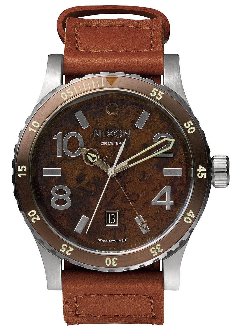 Herreur med schweizisk værk og brun højkvalitets læderrem - Nixon Diplomat Dark Copper / Saddle A269-1958