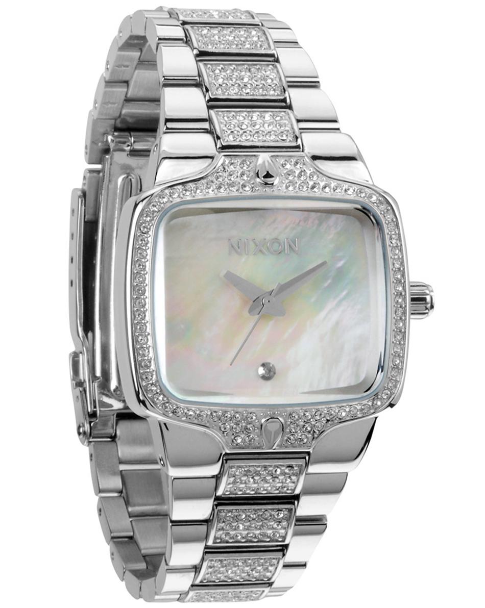 Elegant dameur med sten og perlemor urskive - Nixon Small Player Crystal A300-710 - LIQ
