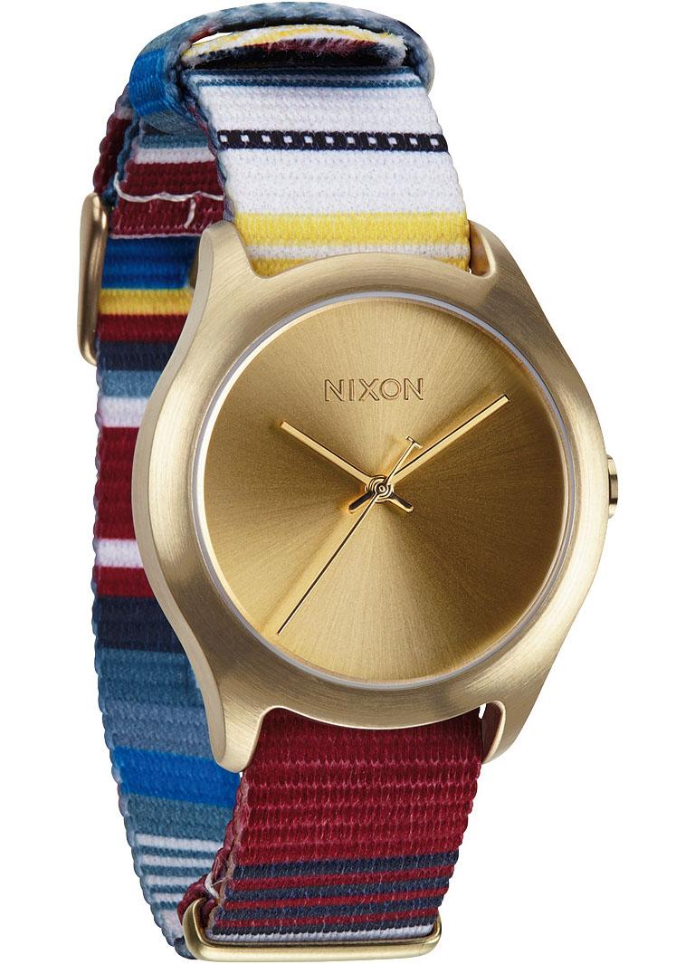 Nixon guld dameur med multifarvet nylonrem - Nixon Mod Golden Blanket A348-1685
