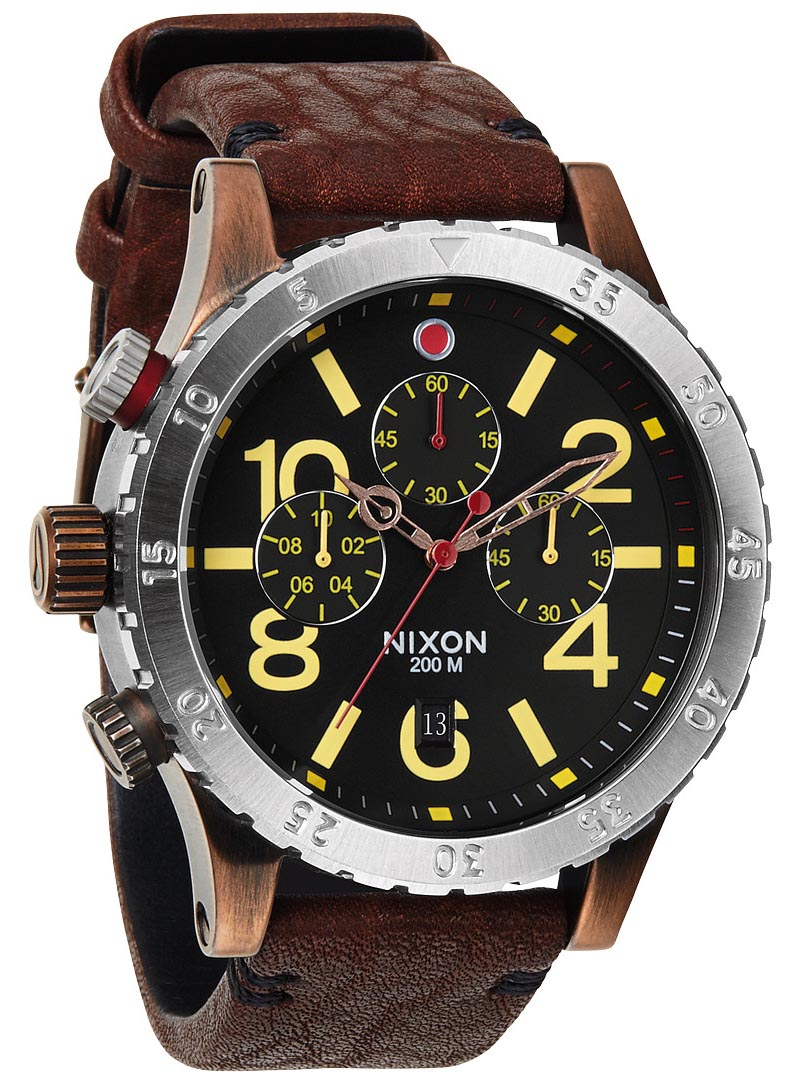 Stort og unikt armbåndsur til mænd med flot brun læderrem - Nixon 48-20 Chrono Leather Antique Copper / Brown A363-1625