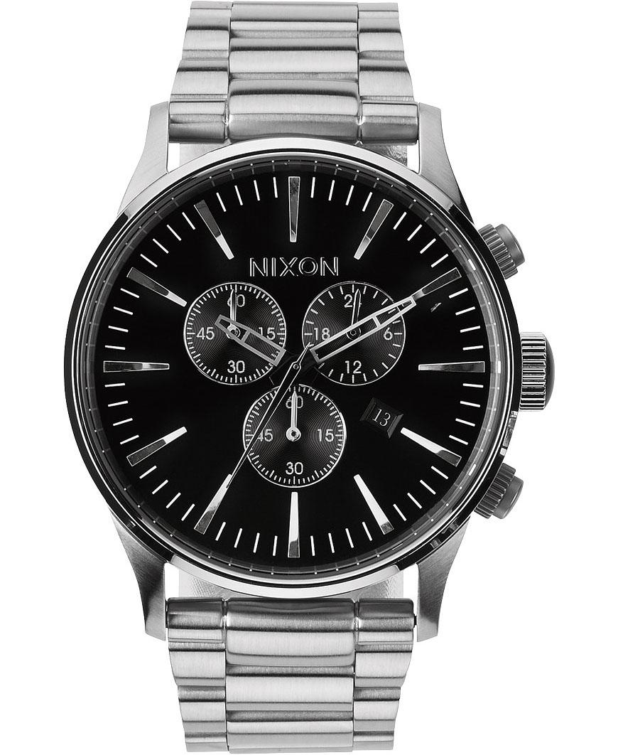 Herreur fra Nixon med kronograf og datovisning - Nixon Sentry Chrono Black A386-000