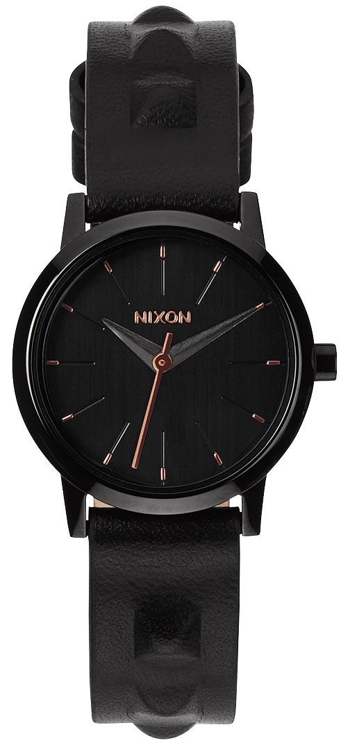 Flot sort Nixon dameur med nittebelagt læderrem - Nixon Kenzi Leather All Black / Studded A398-1669