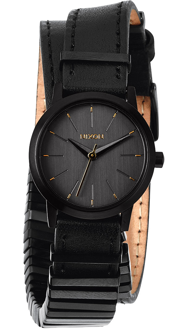 Sort dameur med stylet sort læderrem - Nixon Kenzi Wrap All Black/Mixed A403-1616