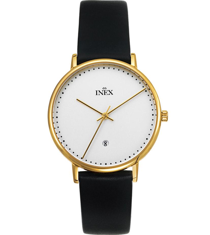 Dansk designet armbåndsur med datoviser - Inex Saphilite Gold Black Leather A69468D4P