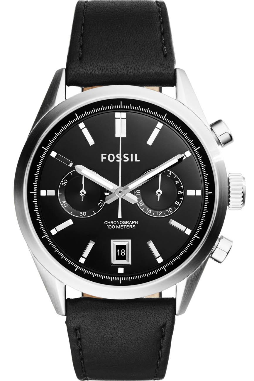 Sort herreur fra Fossil med læderrem - Fossil Del Rey Chronograph CH2972