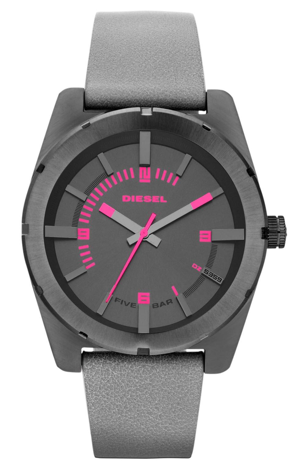 Gunmetal Diesel ur med pink indekseringer og grå/pink læderrem - Diesel Good Company DZ5359