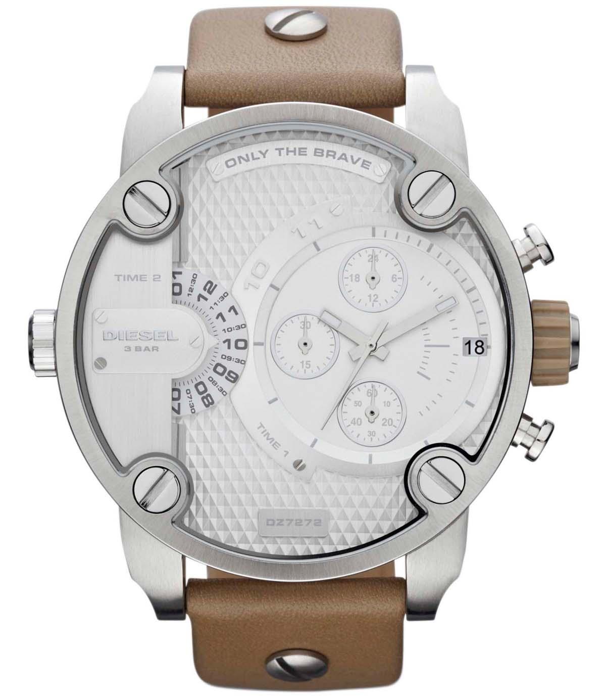 Stort Diesel armbåndsur med lækker bred læderrem - Diesel Little Daddy DZ7272