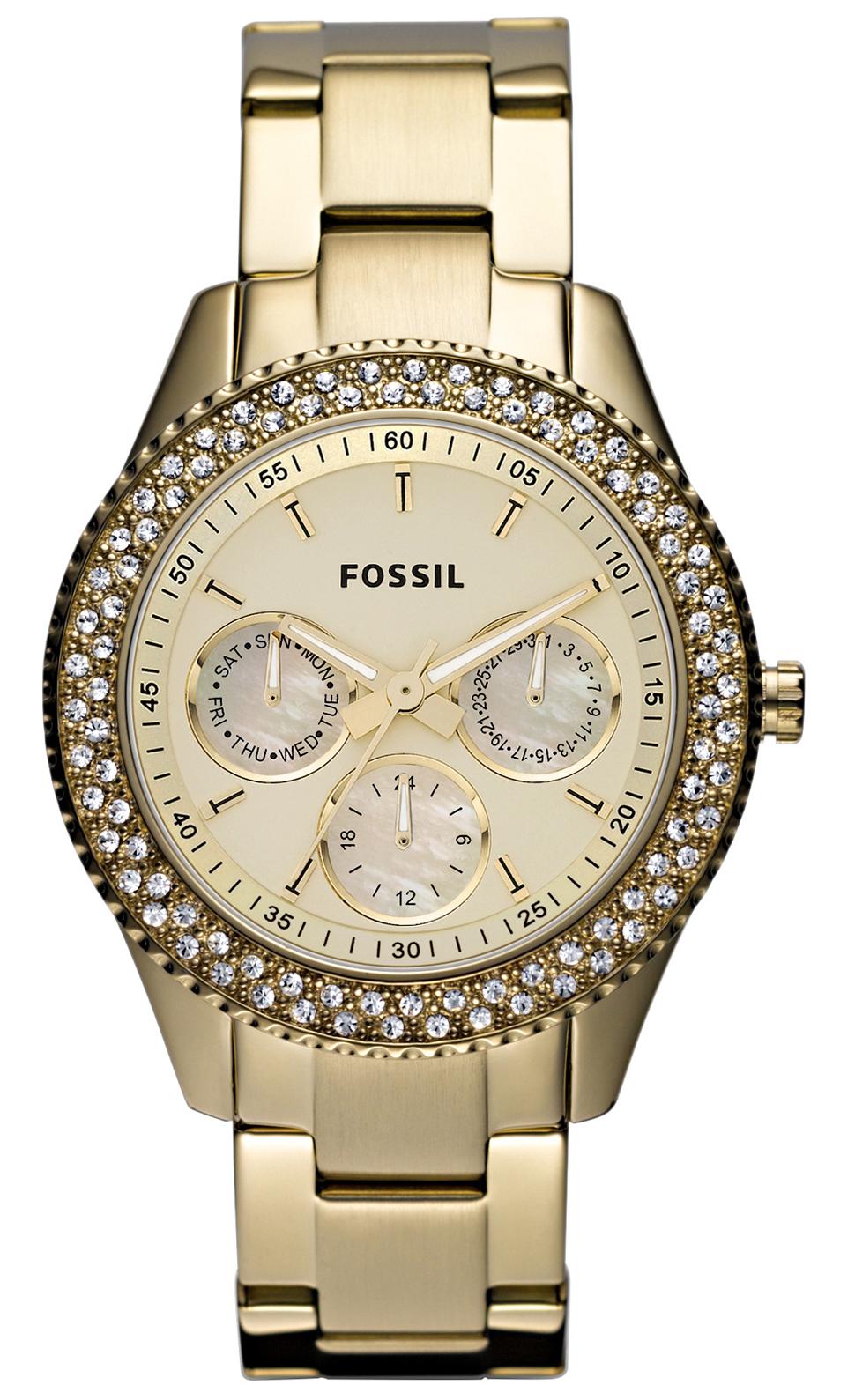 Ur til kvinder i guld med krystaller - Fossil Stella ES3101
