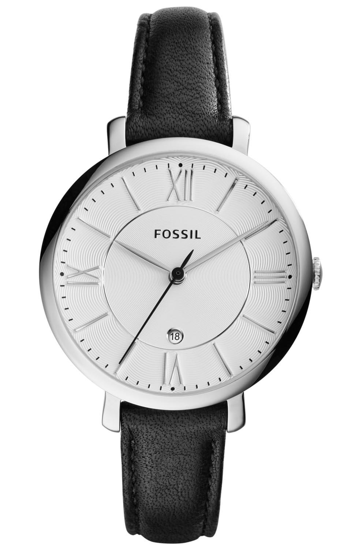 Simpelt og elegant dameur med sort læderrem - Fossil Jacqueline ES3972