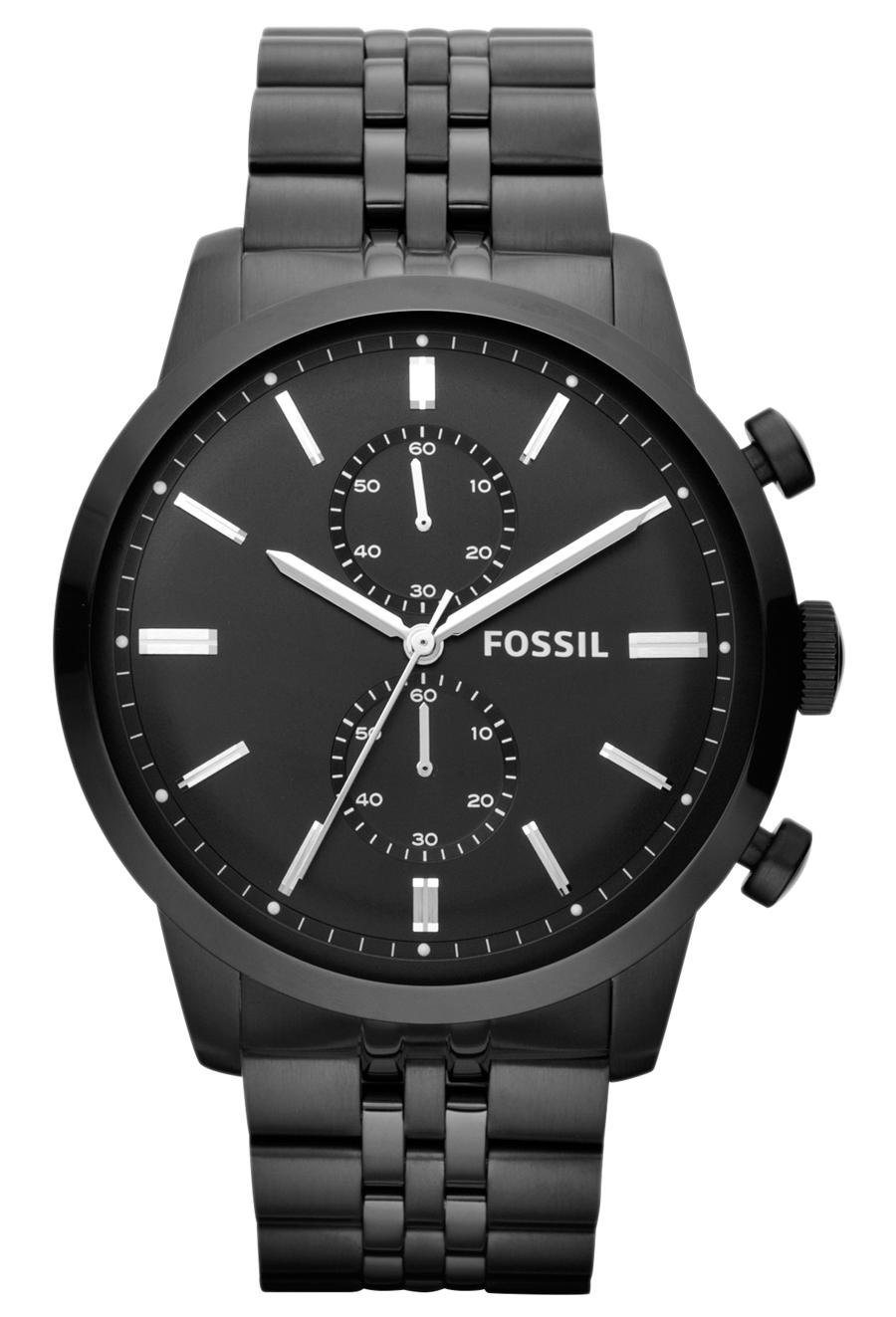 Stort herreur i sort rustfrit stål - Fossil Townsman FS4787