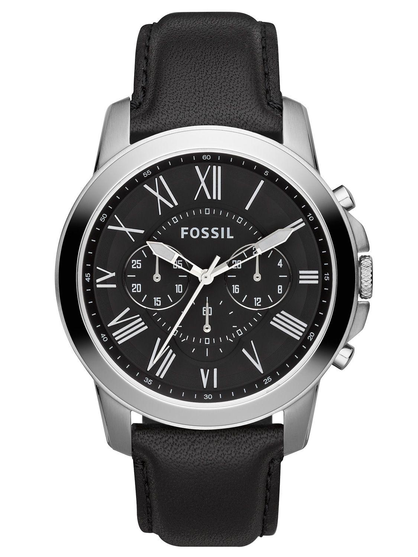 Kronograf herreur med romertal og sort læderrem - Fossil Grant FS4812