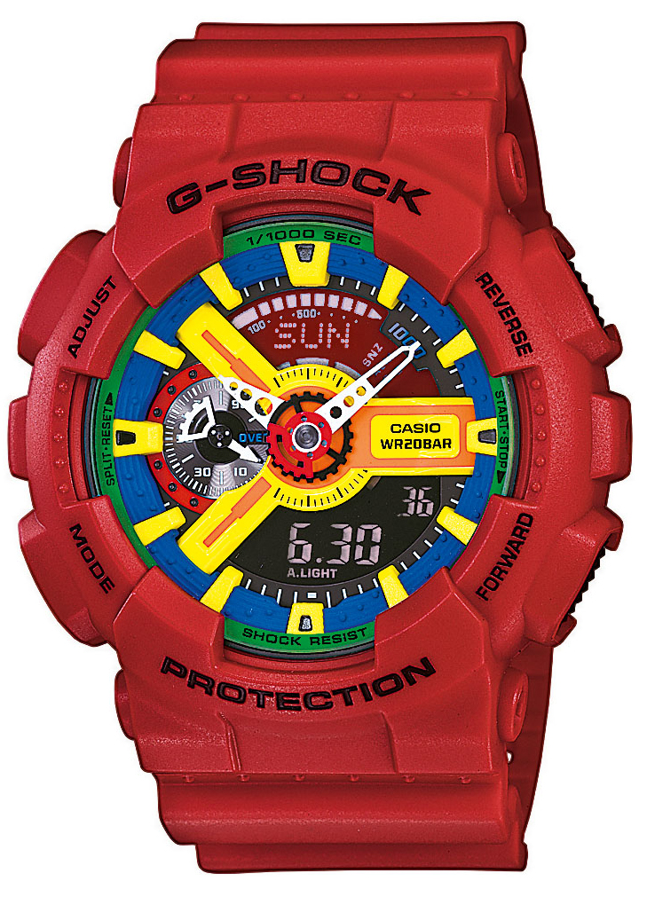 Stort farverigt digitalt sportsur - Casio G-Shock GA-110FC-1AER - RAB