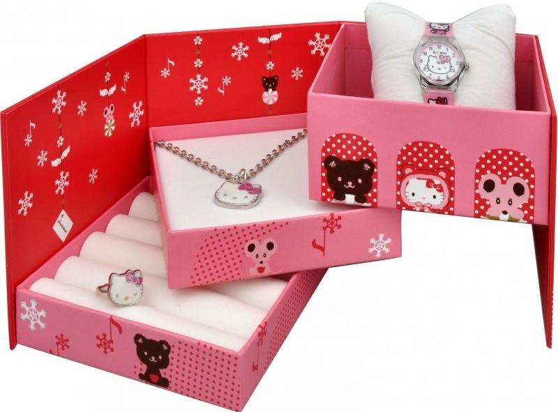 Hello Kitty smykkeskrin med ur, halskæde og fingerring - Hello Kitty Jewellery Set HKG3200-115