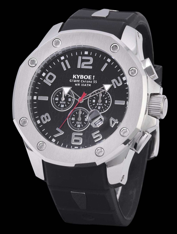 Kyboe ur med markant urkasse i stål og sort rem - Kyboe Chrono Port Silver Black 48MM KPS48-001