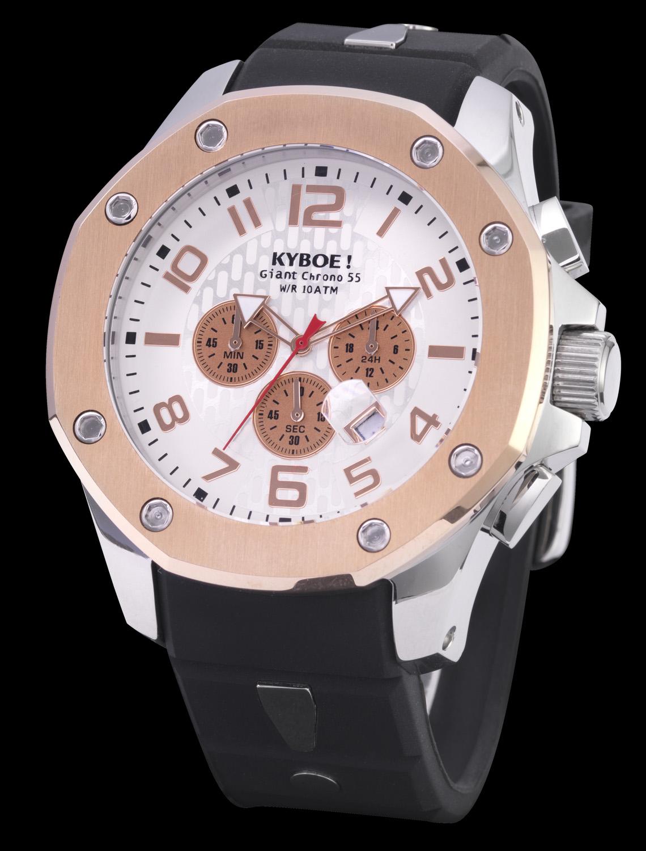Imponerende Kyboe armbåndsur i sølv rødguld og sort - Kyboe Chrono Port Silver/Rosegold White 48MM KPS48-003