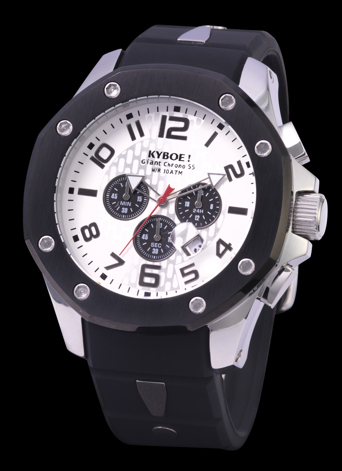 Flot armbåndsur fra Kyboe Watches - Kyboe Chrono Port Silver/Black White 48MM KPS48-004