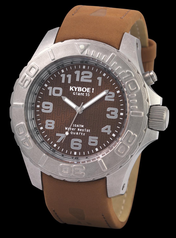 Kyboe Raw armbåndsur med lækker brun nubuck læderrem - Kyboe RAW Steel Brown KR48-002