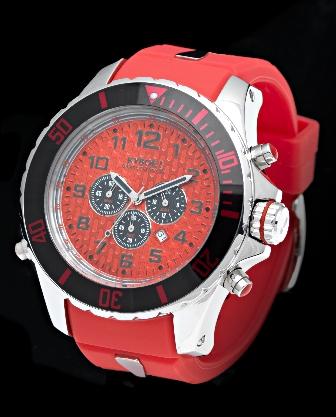 Rødt oversize ur til mænd - Kyboe Giant Chrono 55mm KYC55-001