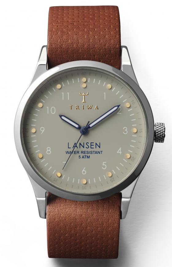 Triwa ur i blankt poleret stål med brun læderrem - Triwa Dawn Lansen Brown Dots Mono LAST113.MD010212