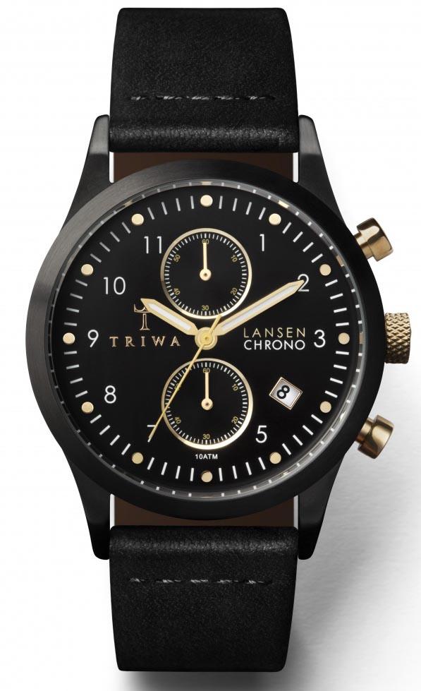 Sort / guld armbåndsur fra Triwa med læderrem - Triwa Midnight Lansen Chrono Black Classic LCST108.CL010113