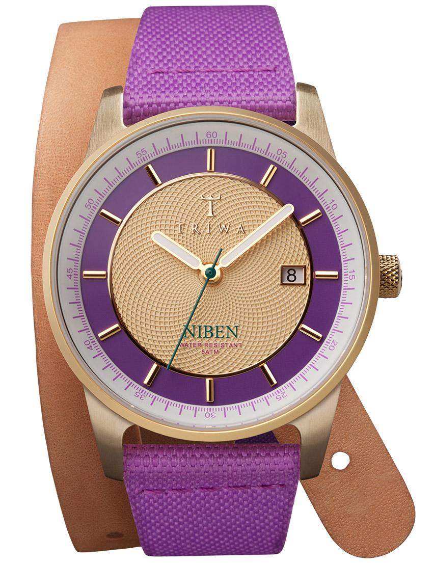 Feminint og farverigt dameur med lang slyngende læderrem - Triwa Purple Gold Niben Purple Twist Canvas NIST102.TW062013