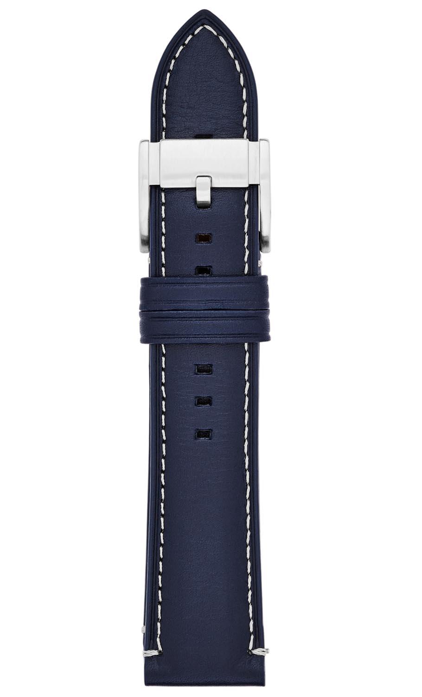 Blå urrem af ægte læder - Fossil 22mm Blue Leather Strap S221255