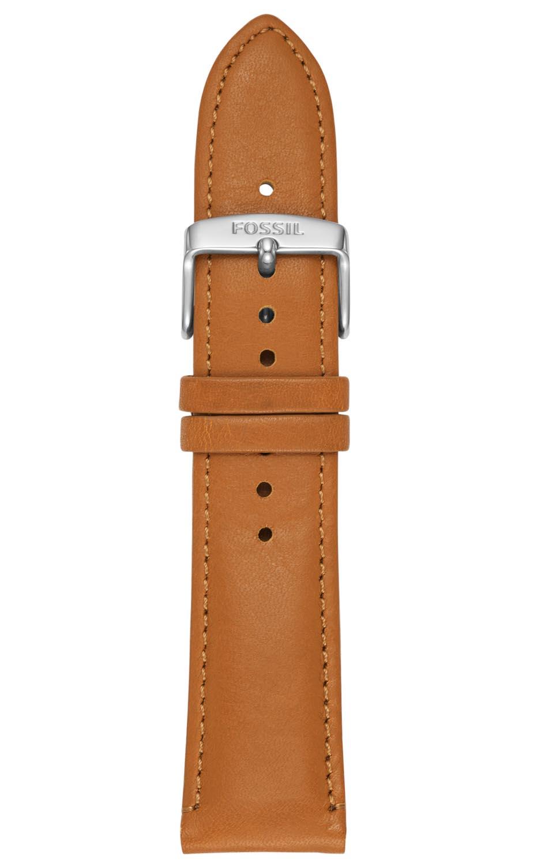 22mm læderrem med smart stiftesystem - Fossil 22mm Brown Leather Strap S221344