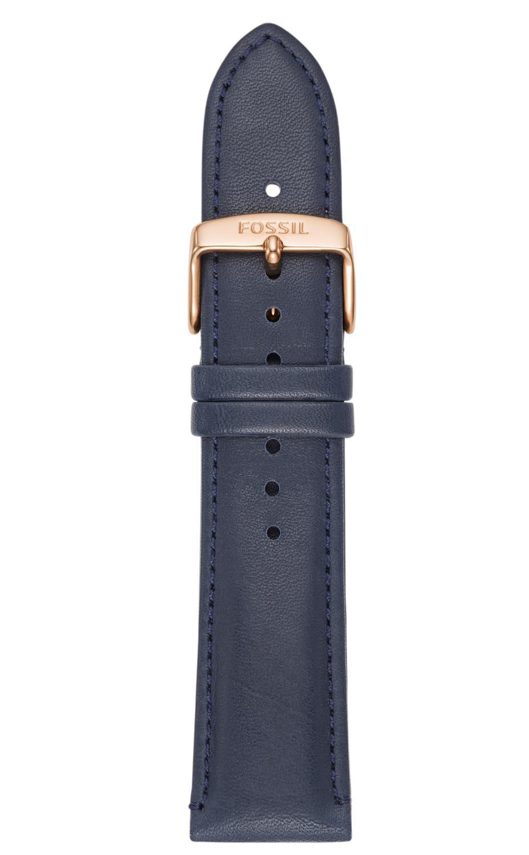Blå læderrem med kobberfarvet lås - Fossil 22mm Blue Leather Strap S221348