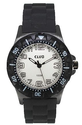 Billede af Vandtæt armbåndsur med gummirem - Club 100M sort/hvid A65178SS4A