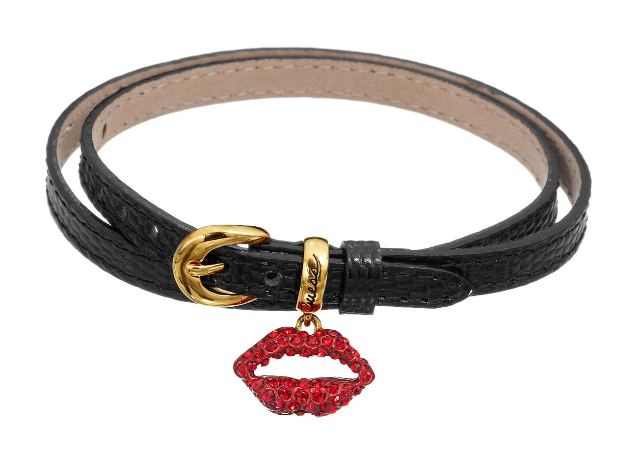 Smart sort læderarmbånd med rød krystal mund - Guess UBB71241