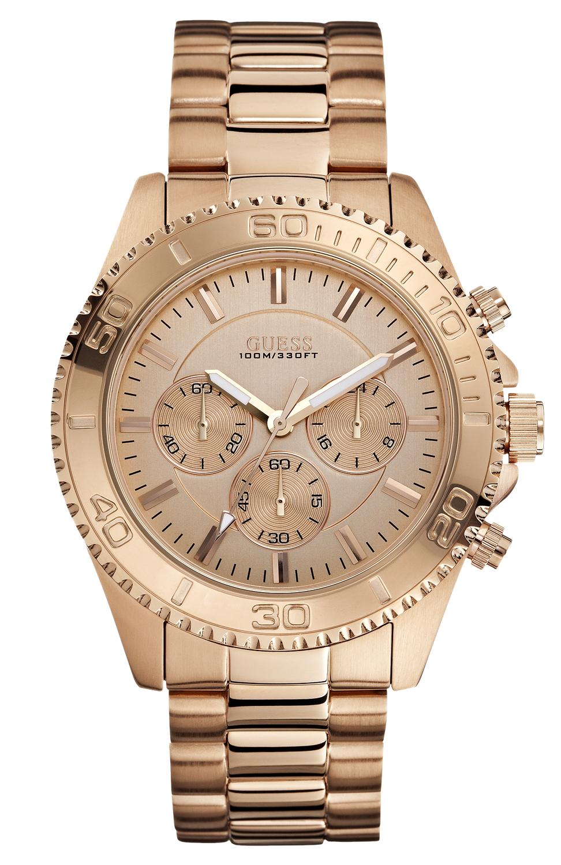 Stort Guess kronograf ur til mænd i rødguld - Guess Chaser Rosegold Chrono W0170G4