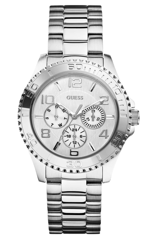 Større dameur i stål fra amerikanske Guess - Guess BFF Silver W0231L1