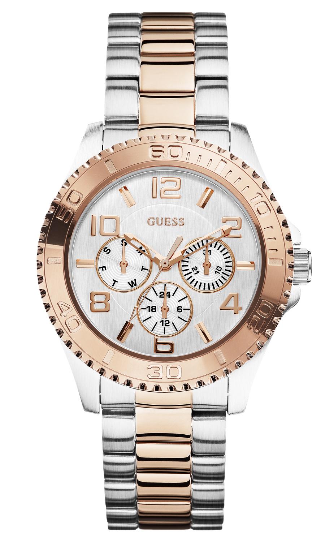 Stort Guess dameur i rødguld/sølv - Guess BFF Rosegold/Silver W0231L5