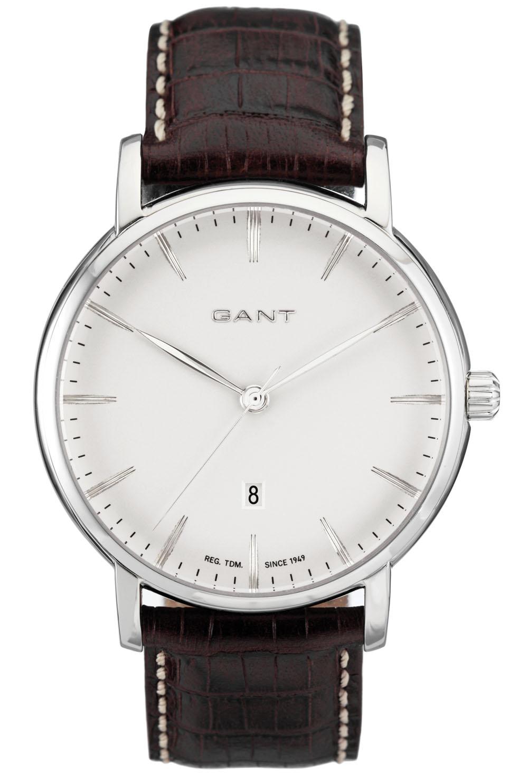 Flot Gant herreur med brun læderrem - Gant Franklin White Leather W70432