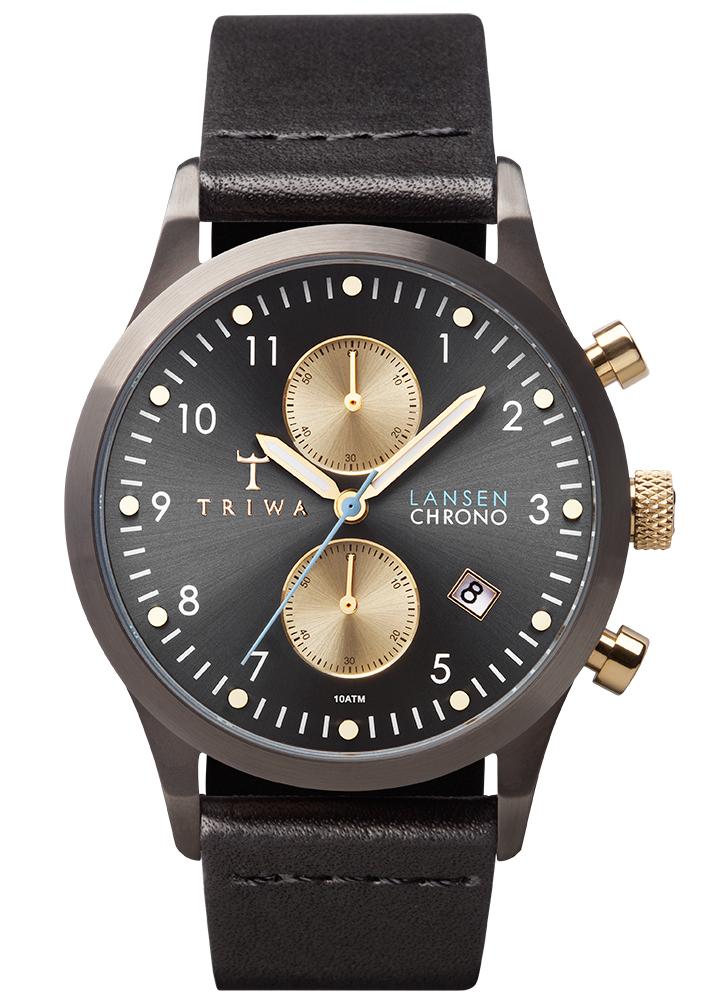 Gunmetal/Guld ur fra Triwa med sort læderrem - Triwa Walter Lansen Chrono Black Classic LCST101.CL012713