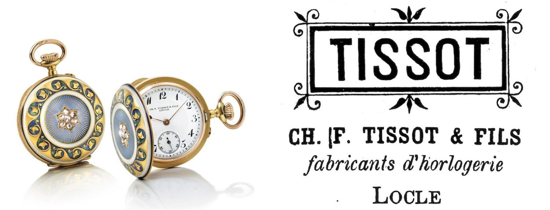 Her ses et vintage Tissot vedhængsur, belagt med guld og besat med diamanter, samt Tissot's første logo fra 1880